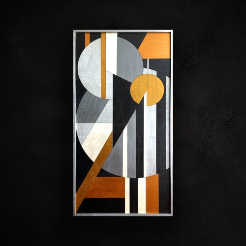 Abstract Geometric Wood Wall Art with Gold and Copper | Wall Hangings by Skal Collective