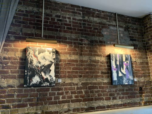 "Paintings by Alice Lipping seen at Vesta Trattoria & Wine Bar, Queens - ""Dissloved"".  Abstract Painting"