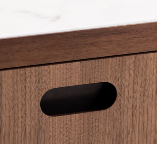 Tables by Munson Furniture seen at Bay Area Made x Wescover 2019 Design Showcase, Alameda - Single Drawer Nightstand in Walnut with Brass Details