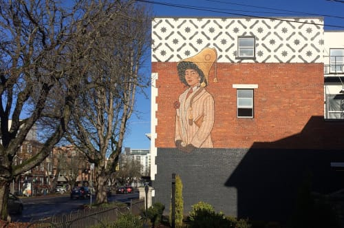 "Murals by Lydia Beauregard seen at The Bell Apartments, Victoria - ""Time"" / ""Lady Bell"""