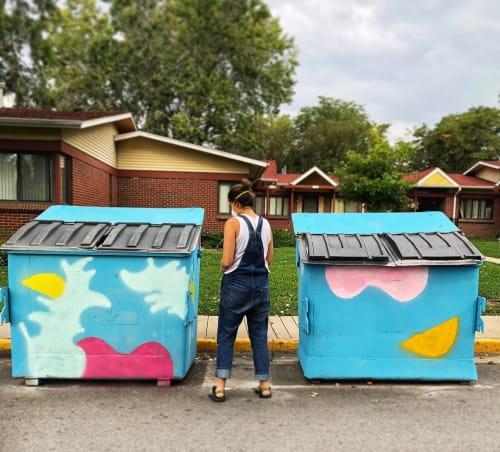 Murals by Elisa Gomez Art seen at West Bar Val Wood Park, Denver - Bird Seed Dumpsters