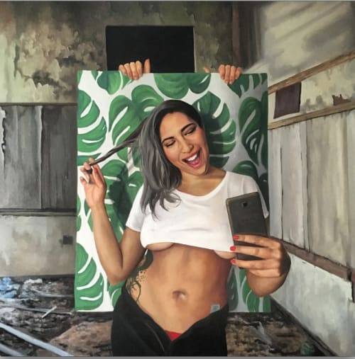 Paintings by Raul Pizarro Art seen at Private Residence, Santiago - Ironic selfie painting