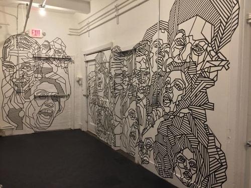 Murals by Dustin Hedrick seen at New York, New York - Face Tape Art Mural