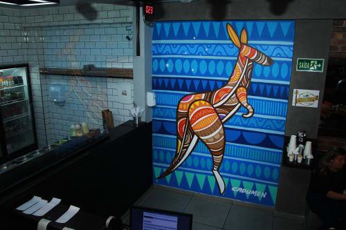 Murals by Cadumen seen at R. Nossa Sra. do Bom Conselho, 299, Chacara Nossa Senhora do Bom Conselho - Kangaroomen
