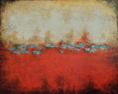 Paintings by Liz Johnston seen at Private Residence, Arlington - Vermillion Sunset