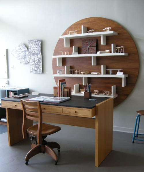 Furniture by Jason Lees Design seen at Oakland, Oakland - Span Desk and Wallscape wall shelves