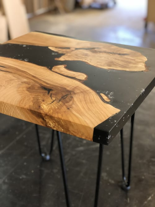 Tables by Black Rose WoodCraft seen at Private Residence, Salem - Maple Resin Side Table