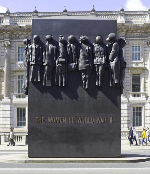 Public Sculptures by John Mills seen at Whitehall Road - Women of World War II Monument