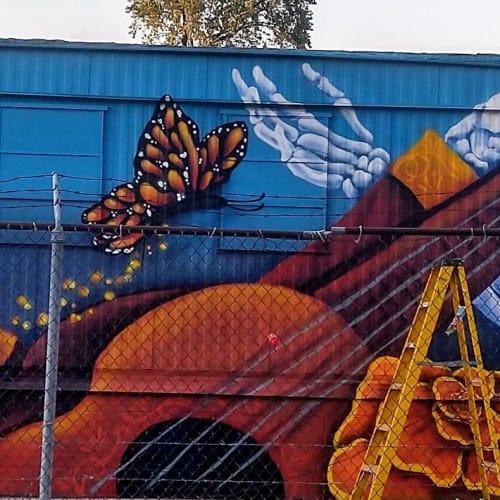 """Street Murals by Elizabeth """"BeL"""" Reyes seen at 2100 S California Ave, Chicago - Y las Mariposas"""