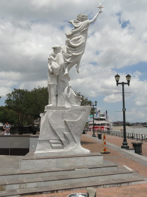 "Public Sculptures by Franco Alessandrini seen at Woldenberg Park, New Orleans - ""Monument to the Immigrant"""