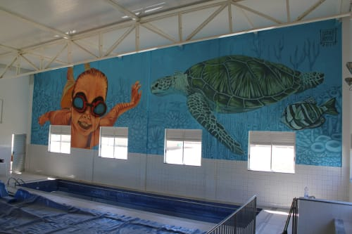 Murals by Dinho Bento seen at Fisioterapia UFVJM - Swimming
