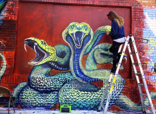 Street Murals by Charly Malpass Art seen at Mission District, San Francisco - Serpent Dream