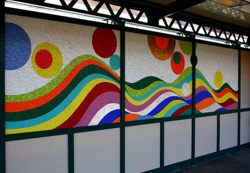 Public Mosaics by Soonae Tark seen at Buhre Ave. Station, New York City Subway System, Bronx - Have a Happy Day