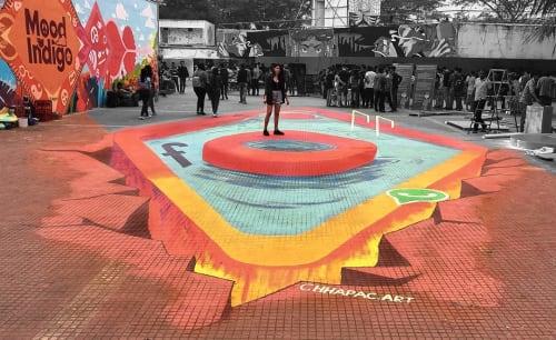 Street Murals by Chhapac seen at Mood Indigo, Mumbai - 3D Interactive Painting