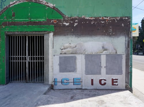 "Street Murals by No Touching Ground seen at Private Residence, Los Angeles - ""Global Warming"" mural"