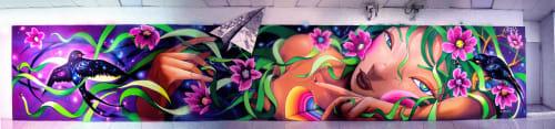 Murals by Utopia artist seen at Aeroporto Lisboa, Lisbon - Oliveiros Junior
