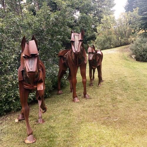 Public Sculptures by Jamie Burnes seen at Deer Valley Resort, Park City - Horses