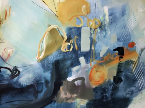 Paintings by Marie Manon Art seen at Private Residence, Calgary - Blue City Scape