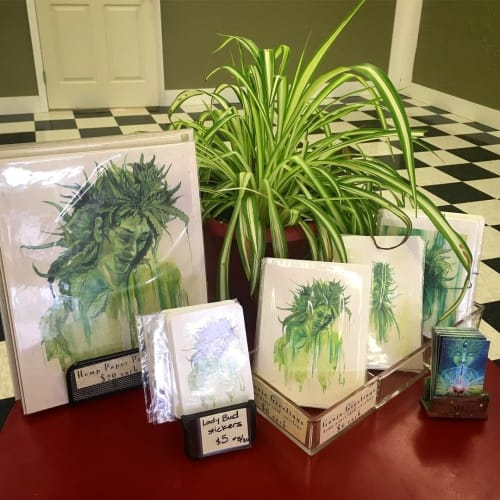 Paintings by Annie Kyla Bennett Art seen at Two Moons CBD & Wellness, Asheville - LadyBuds hemp art decor