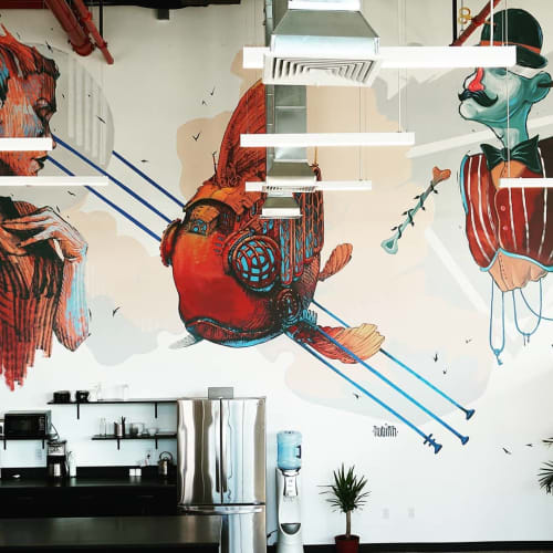 Murals by Primal Graphic seen at Mixmag NY, Brooklyn - OWLEY mural