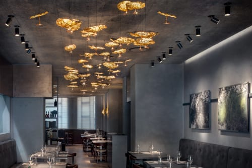 Pendants by Catellani & Smith at Cenerè Restaurant, Milano - Custom Gold Moon Chandelier