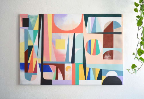 "Paintings by Jilli Darling seen at Private Residence, Berlin - ""Patchwork 02"" Original painting on canvas 90x130cm"