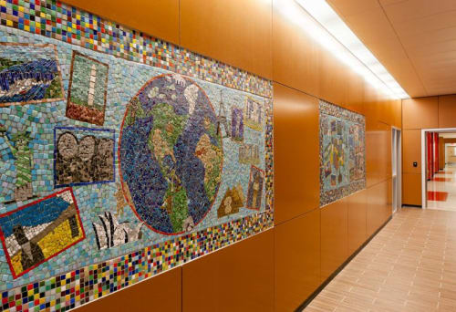 Public Mosaics by Cynthia Fisher seen at Goodyear Elementary School, Woburn - Mosaics