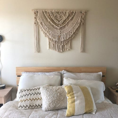 Macrame Wall Hanging by Desert Indulgence - Natural and Neutral Macrame Headboard Wall Hanging