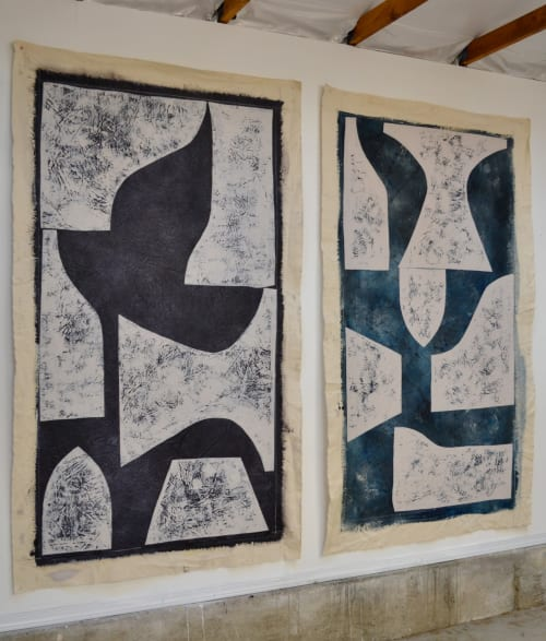 "Paintings by Roberta Aylward seen at Skin by Lovely Lake Oswego, Lake Oswego - Two Paintings from ""Taking Shape"" Series"