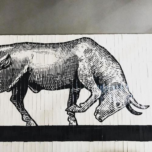 Murals by Cape Town Signwriting seen at The Bull Run, Sandton - Bull Mural