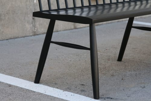 Commercial Ebonized Spindle Back Bench | Benches & Ottomans by Miikana Woodworking | The Harvard Museum of Natural History in Cambridge