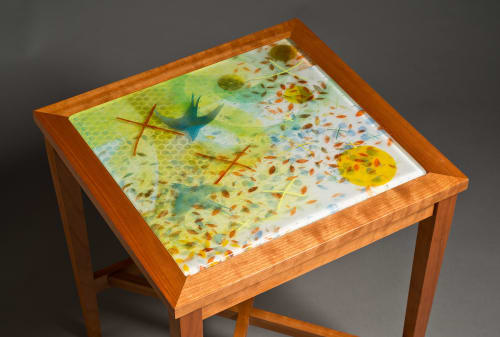 Tables by David Kellum Furniture seen at Private Residence - Port Townsend, WA, Port Townsend - Glass top cherry side table
