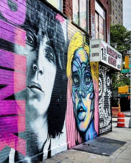 Murals by Isabelle Ewing seen at Julie's Vintage, New York - Rainbow Wonder Woman