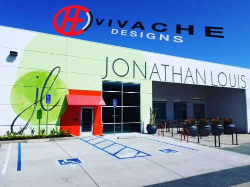 Murals by VIVACHE DESIGNS seen at Jonathan Louis International, Gardena - Custom Building Murals