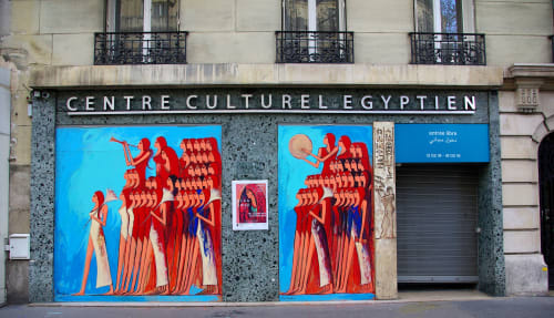 Murals by Alaa Awad seen at Centre culturel d'Egypte, Paris - Daughters of the Nile - 2019