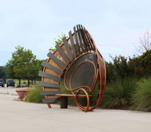 Public Sculptures by May & Watkins Design seen at Lewisville, Lewisville - Tie bench