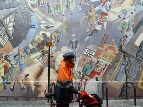 Street Murals by Gary Drostle – Drostle Public Arts Ltd seen at Brook Street, Chester - Brook Street Capers