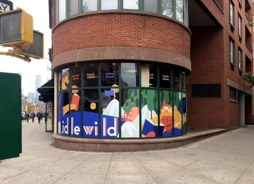 Murals by Cecile Gariepy seen at Idlewild Books, New York - Windows Mural
