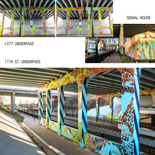 Street Murals by Sharon Dowell Art, LLC seen at Charlotte, Charlotte - CATS Transit Light Rail, I-277 and 11th St. Overpasses