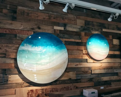 Paintings by Sarah Caudle seen at Polu Gallery Haleiwa, Haleiwa - Round Beach Painting