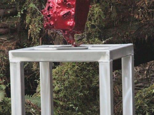 Public Sculptures by Daniel Laskarin seen at Tofino Botanical Gardens, Tofino - things come apart