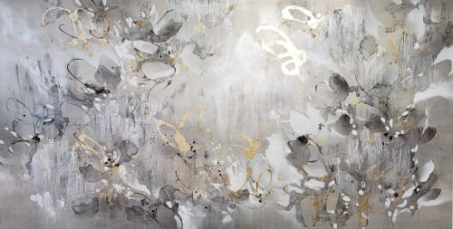 Paintings by K.Nari Art Studio seen at Private Residence, Scottsdale - Custom Floral metallic painting