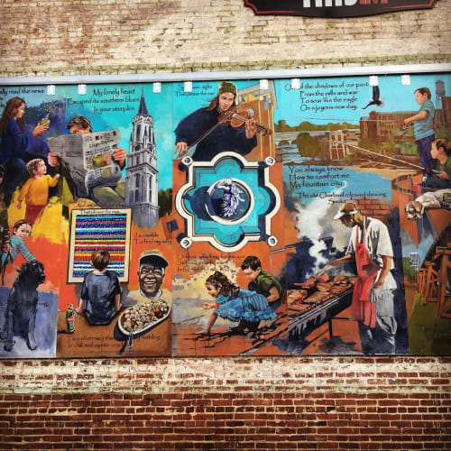 Street Murals by Dr. Garry Pound seen at 11th Street & 1st Avenue, Columbus - Culture Mural