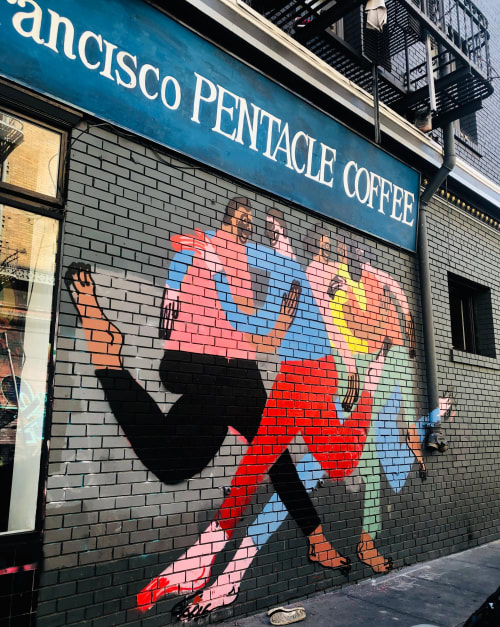 Street Murals by Jeffrey Cheung seen at Pentacle Coffee, San Francisco - Toe to Toe