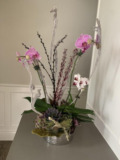 Floral Arrangements by Fleurina Designs seen at Hotel Los Gatos - A Greystone Hotel, Los Gatos - Vintage orchid arrangements