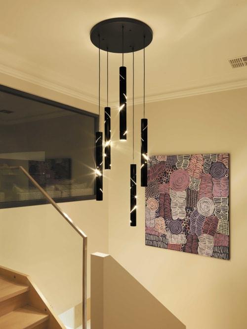 Pendants by ILANEL DESIGN STUDIO seen at Private Residence, Port Melbourne - Black Rain Light Drops