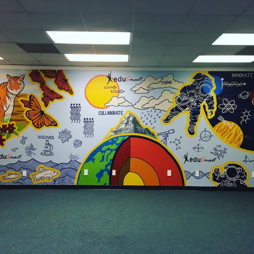 Murals by Avery Orendorf at EduSmart, Austin - Science