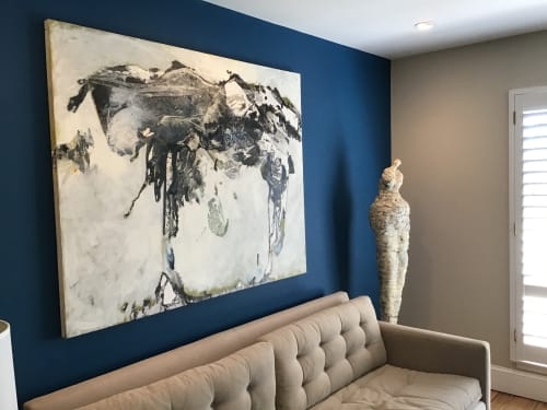 "Paintings by Jane Burton, Abstract Painting seen at Private Residence, Jupiter - ""Emerging Spirit""  48"" x 60"" Black and White Commission"