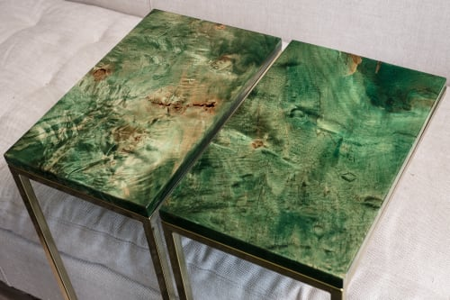 Tables by Lumberlust Designs seen at Private Home, San Diego, CA, San Diego - Emerald Green+Gold Maple Burl C-Tables
