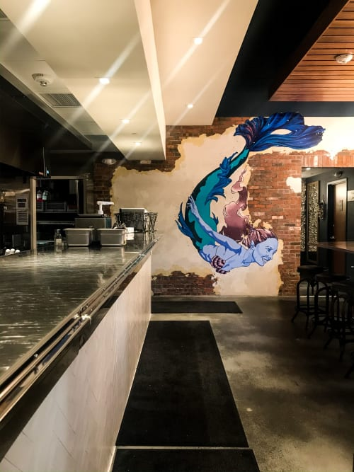 Murals by Chalkoholic seen at 22 M St NE, Washington - King Street Oyster Bar~ Mermaid